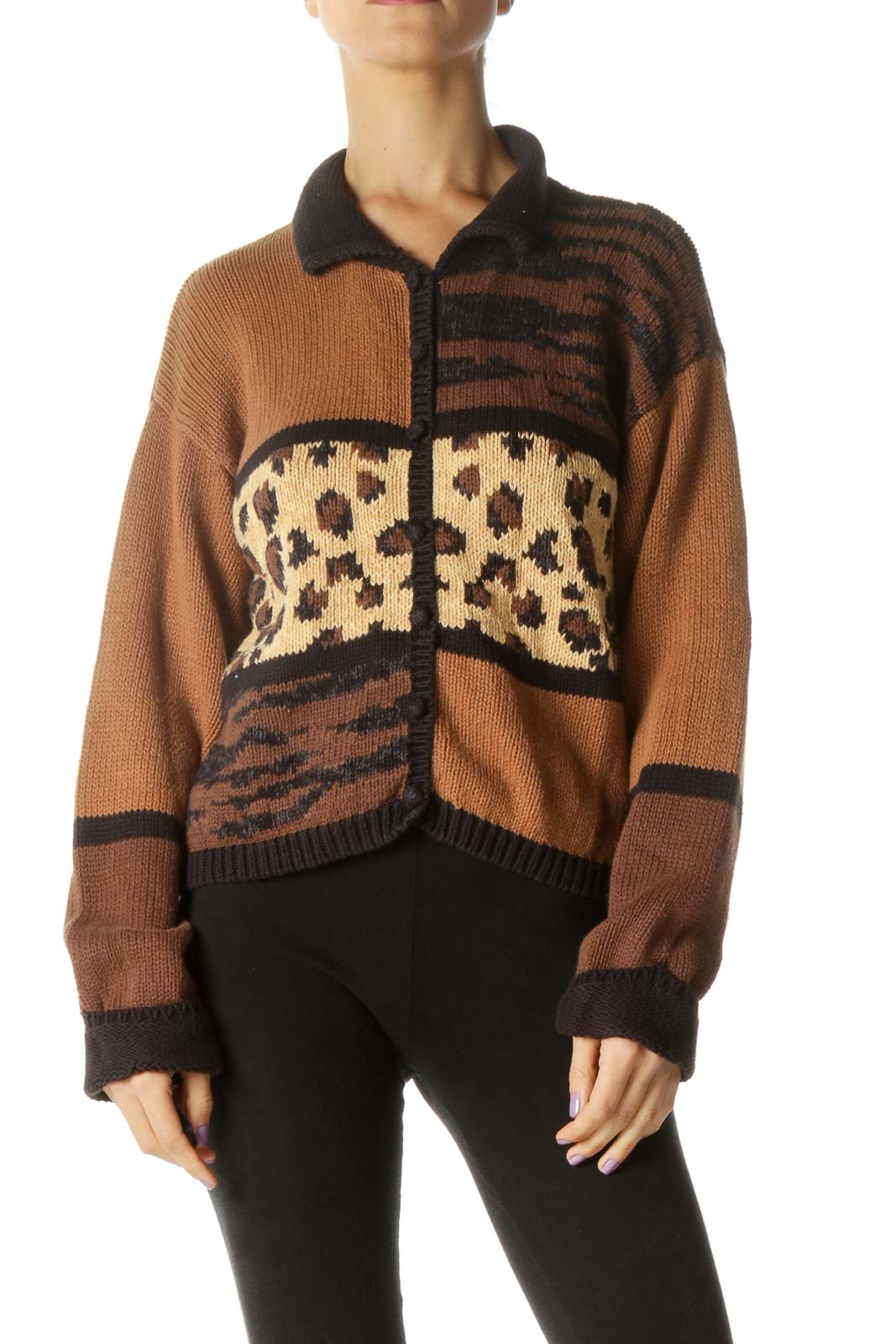Brown Cheetah Print Knit Sweater Front