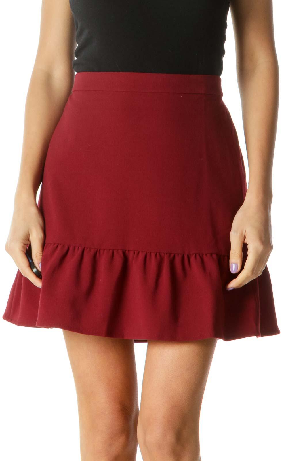 Burgundy Ruffled Edge Skirt Front