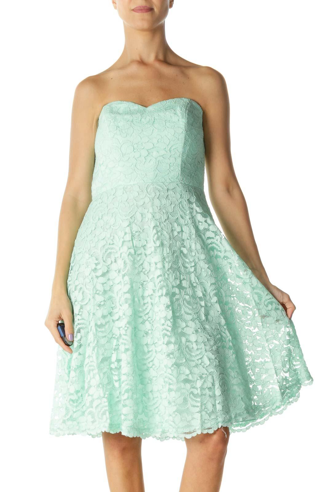 Mint Lace Floral Print Strapless Dress Front