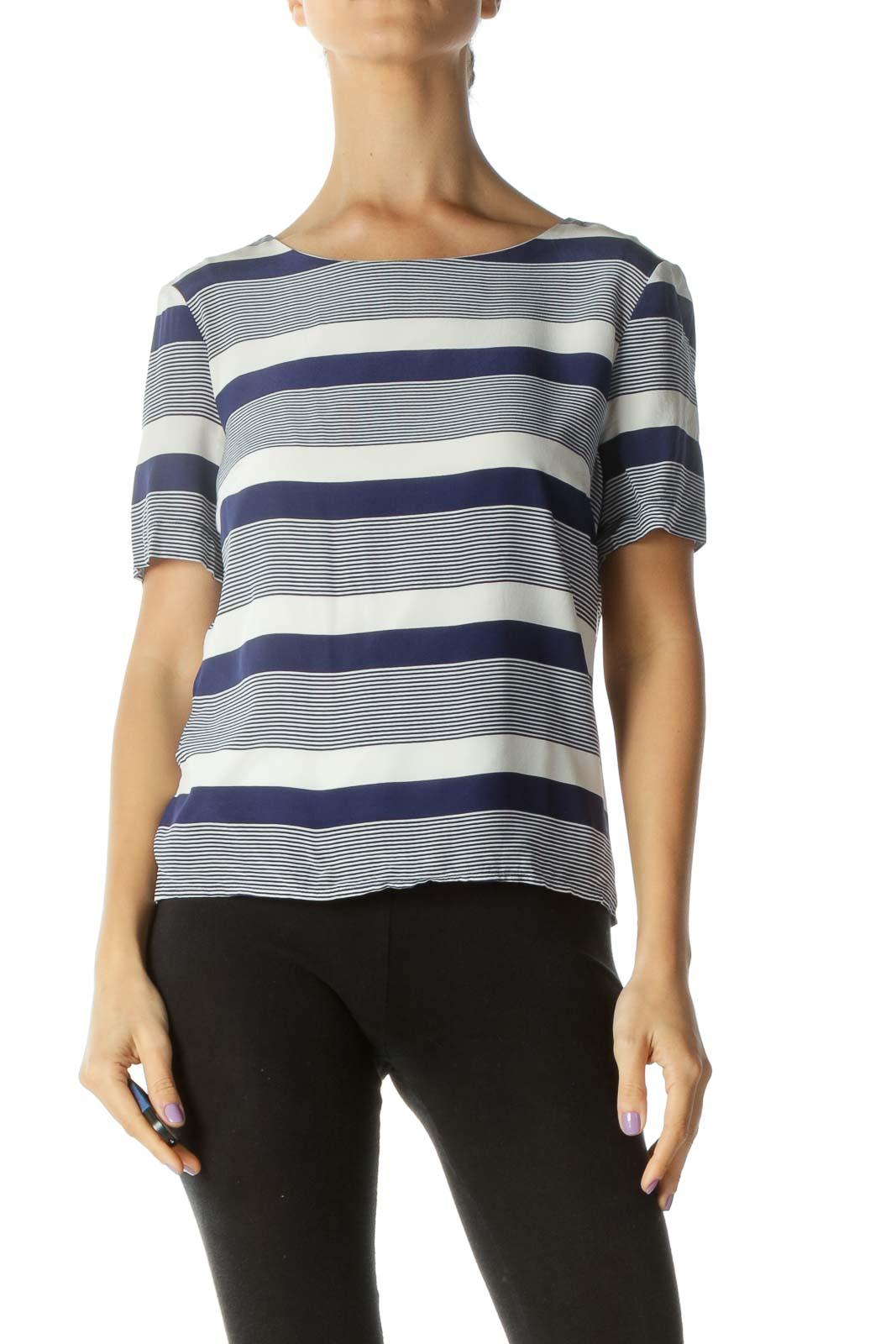 Blue Cream Silk Boat Neck Striped T-Shirt Front