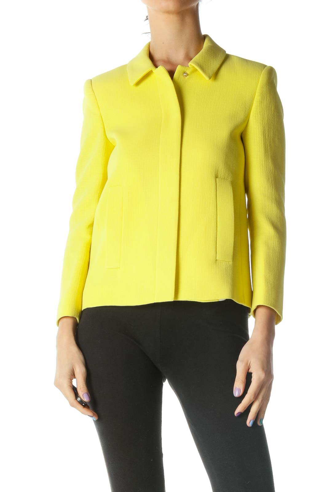 Yellow Structured Jacket Front
