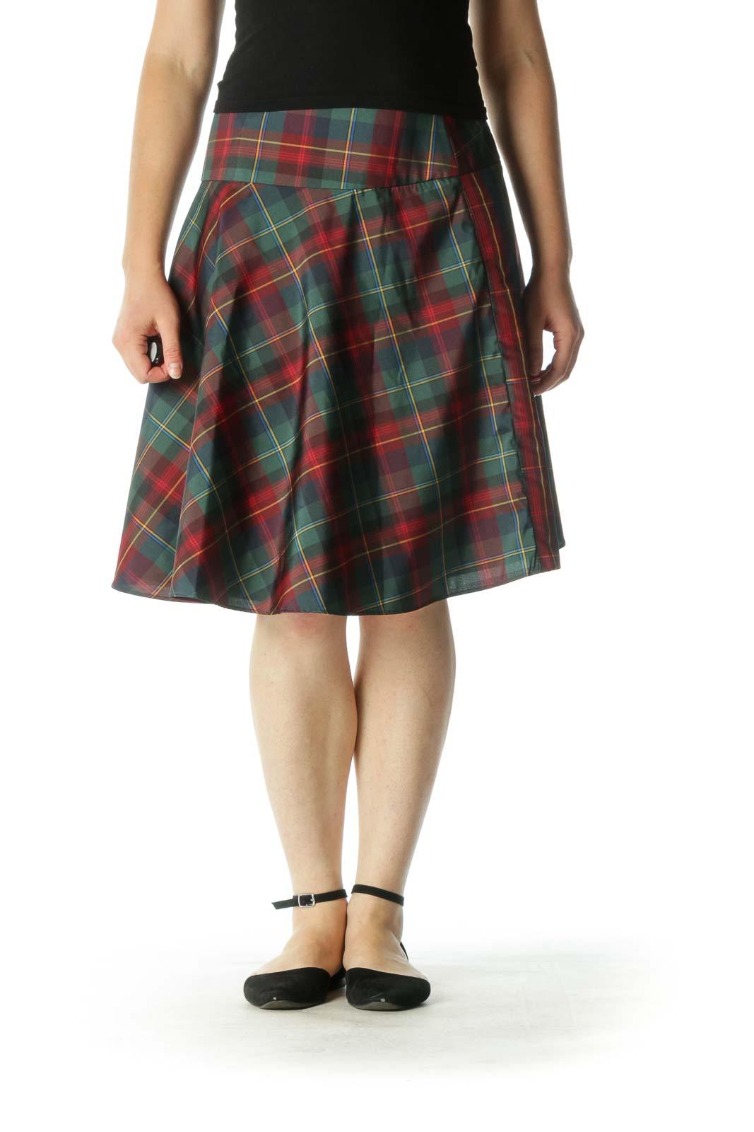 Red Green Plaid Skater Skirt Front