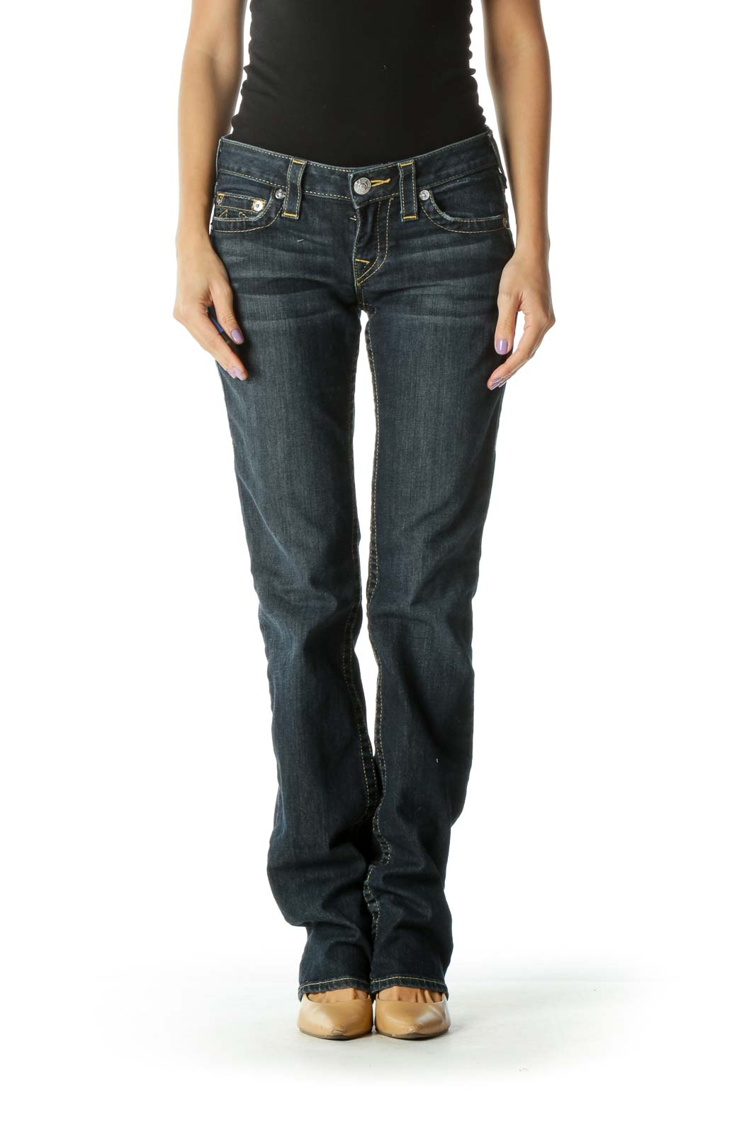Blue Dark Wash Straight Leg Jeans Front
