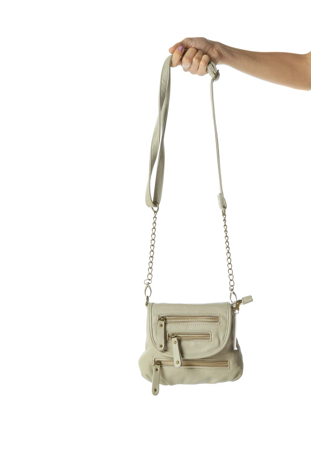 Cream Zippered Crossbody Bag with Removable Chain Strap Front