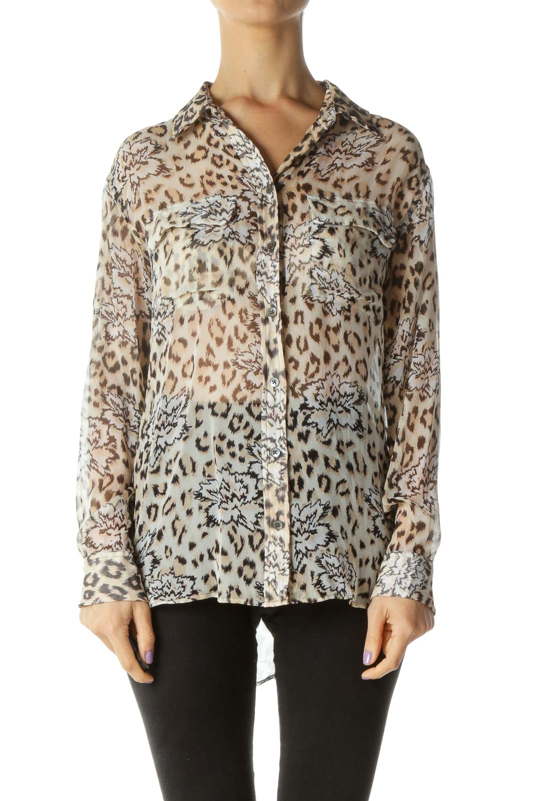 Cream Cheetah Print Button Down Front