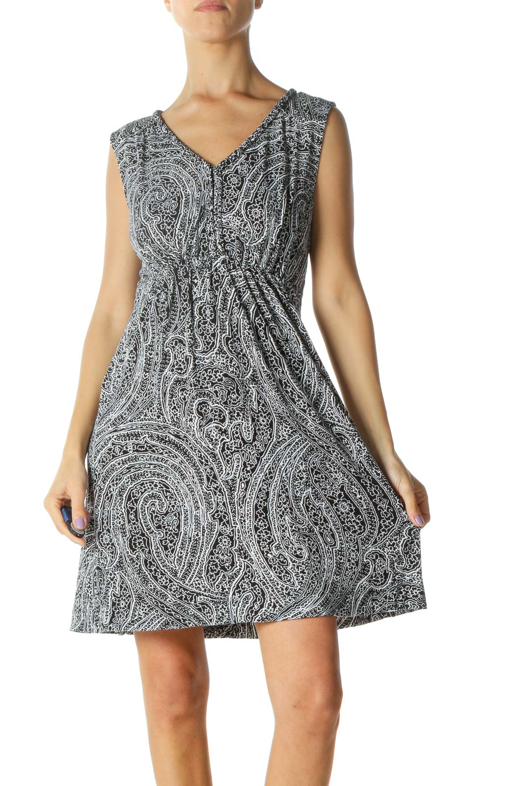 Black and White Print Day Dress Front