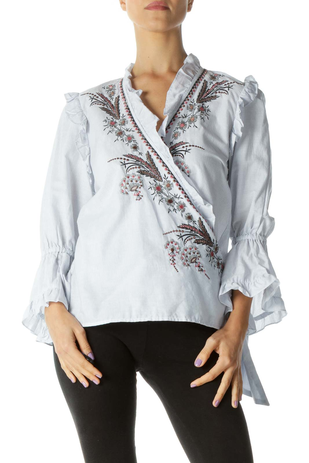 Blue and White Embroidered Trumpet Sleeve Shirt Front