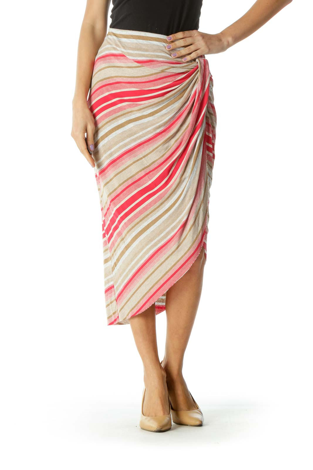 Beige Red Faux-Wrap Skirt Front