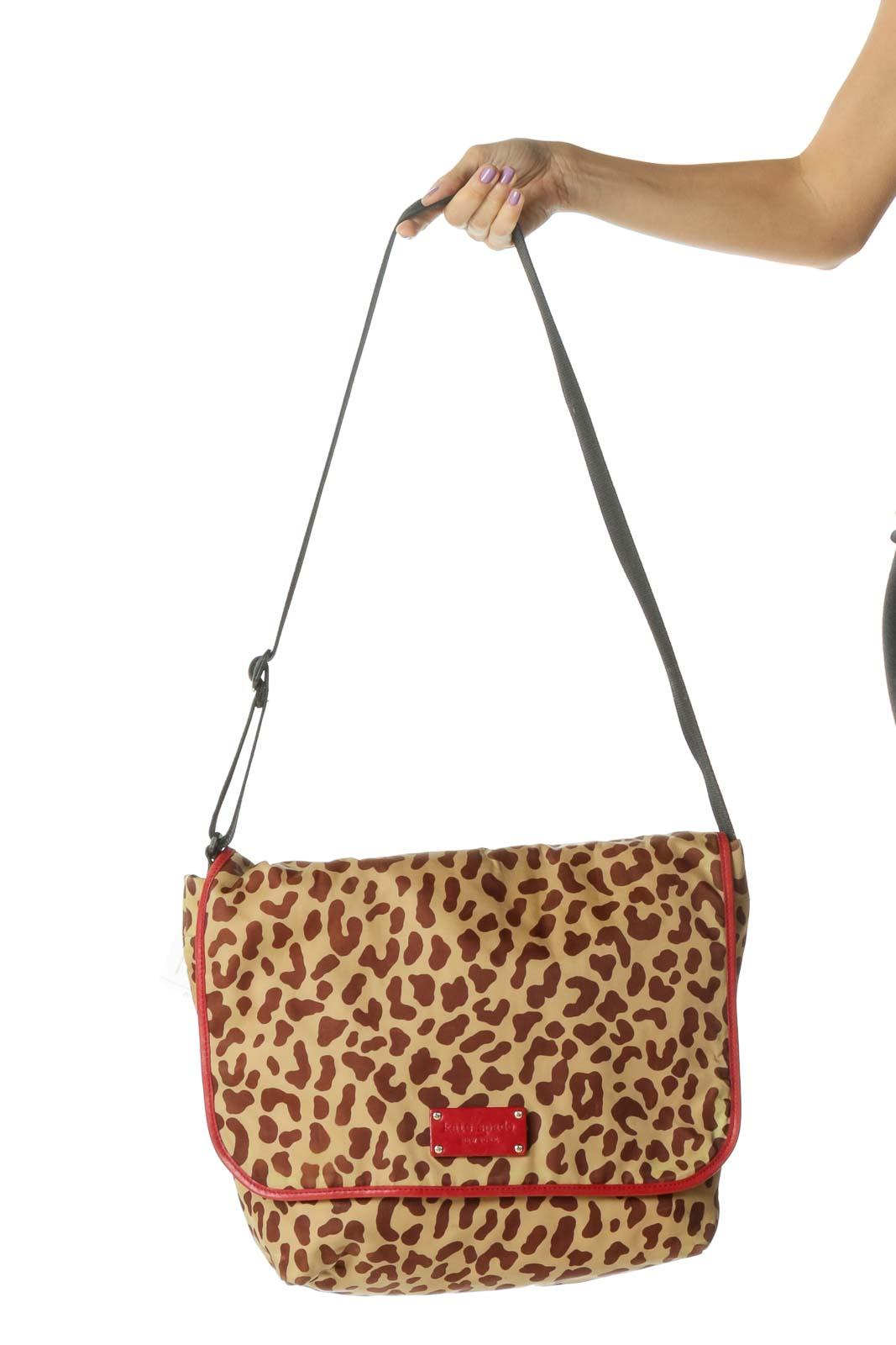 Brown and Red Cheetah Print Messenger Bag Front
