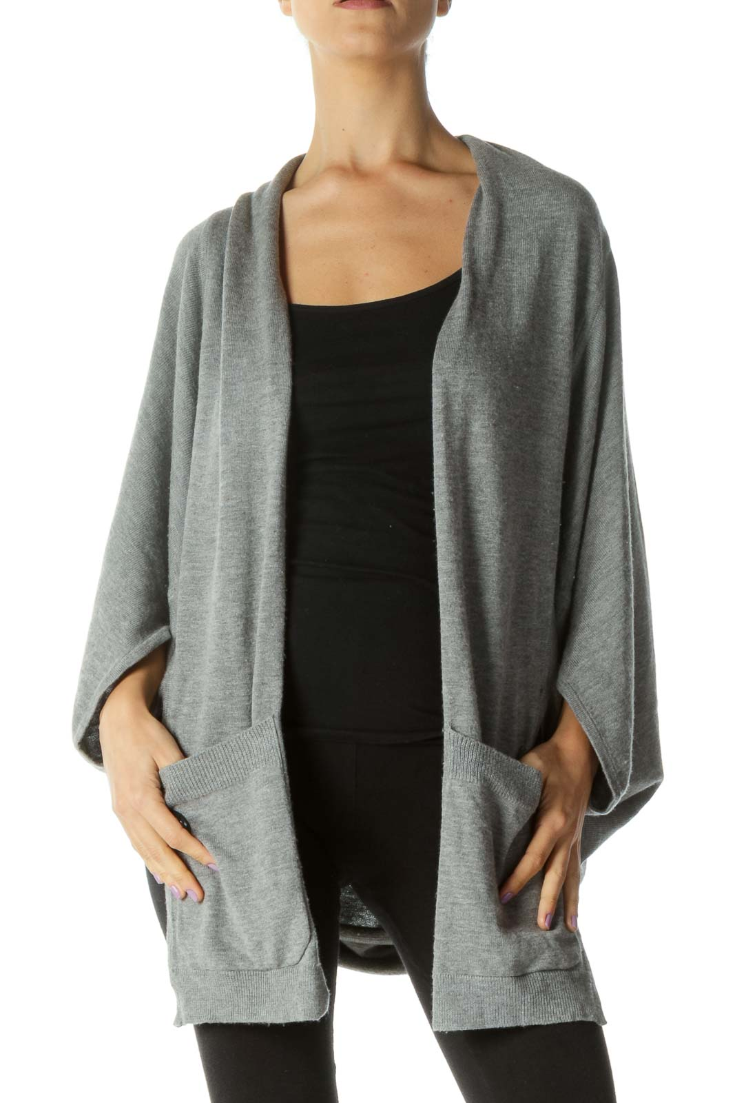 Gray Wool Blend Pocketed Open Cardigan Front