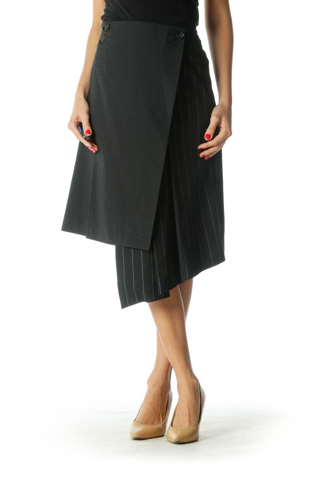 Black Striped Asymmetrical Skirt Front