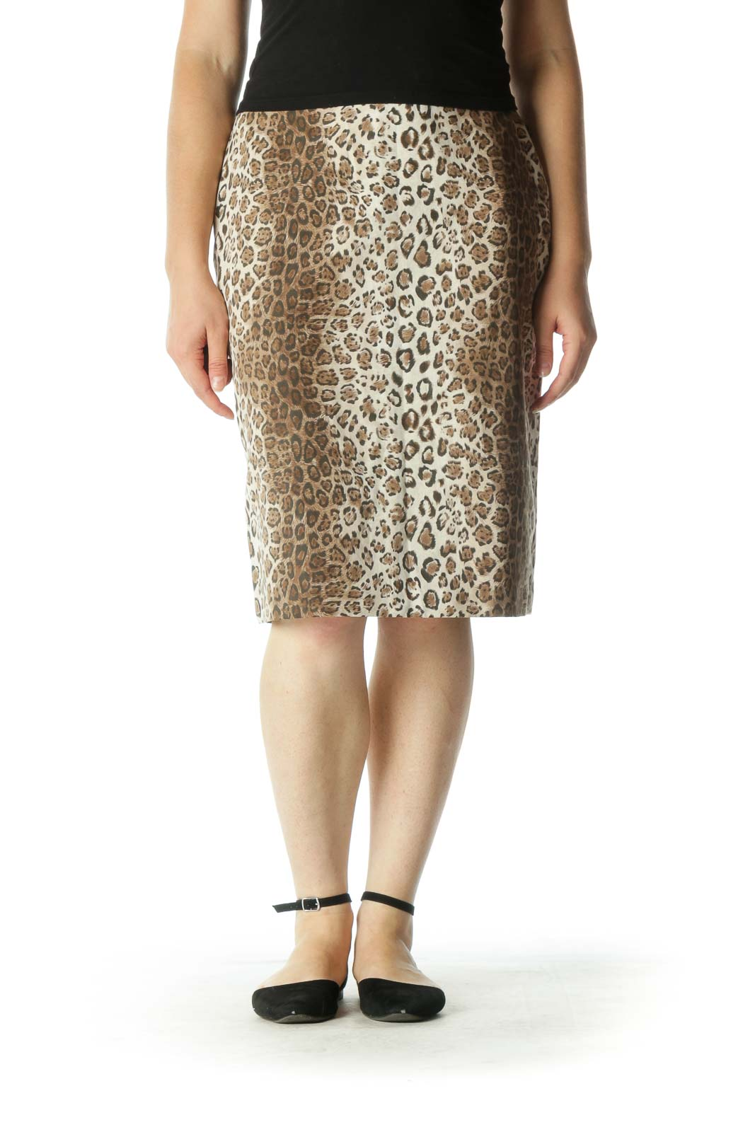 Brown Leopard Pencil Skirt Front