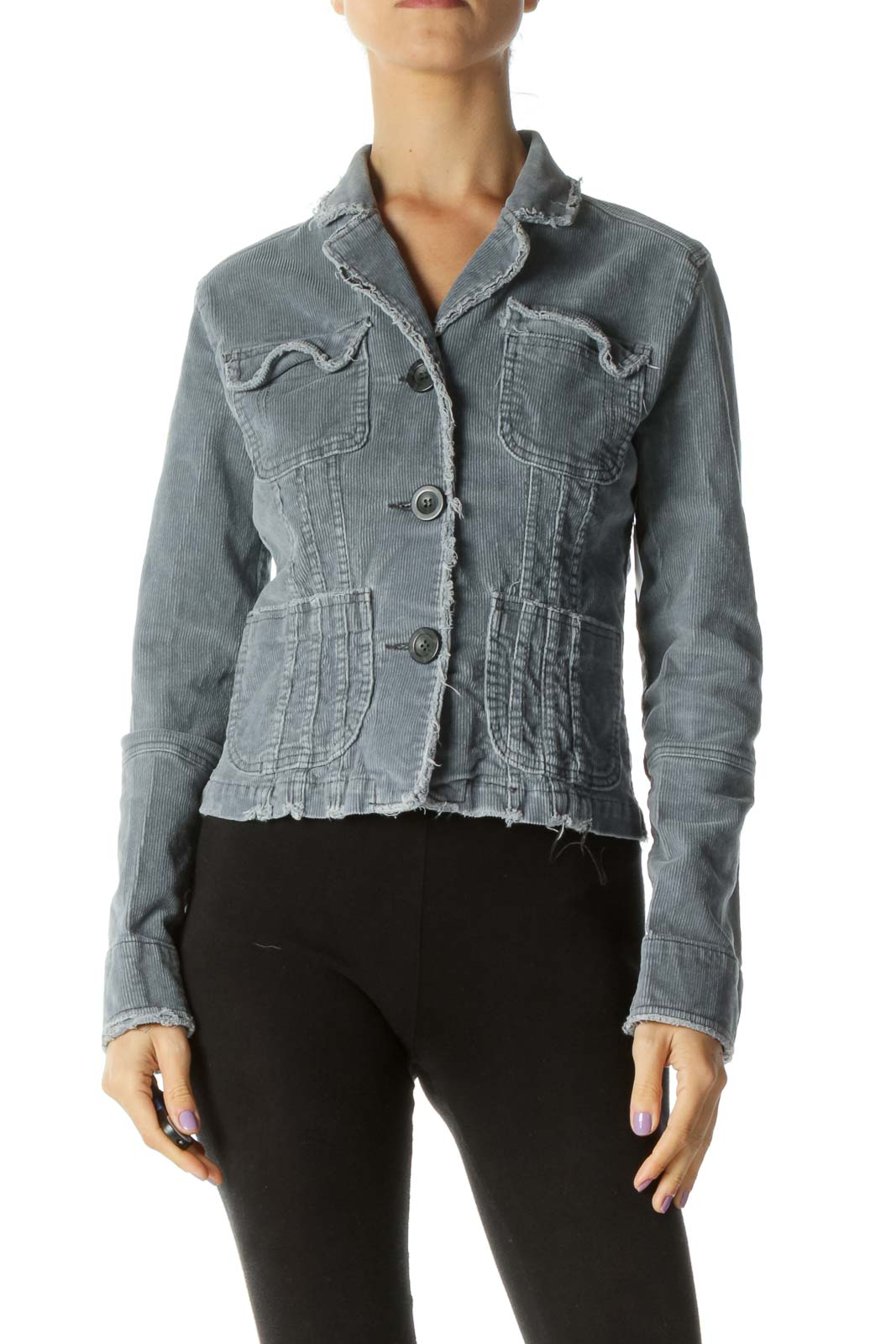 Gray Corduroy Pocketed Jacket Front