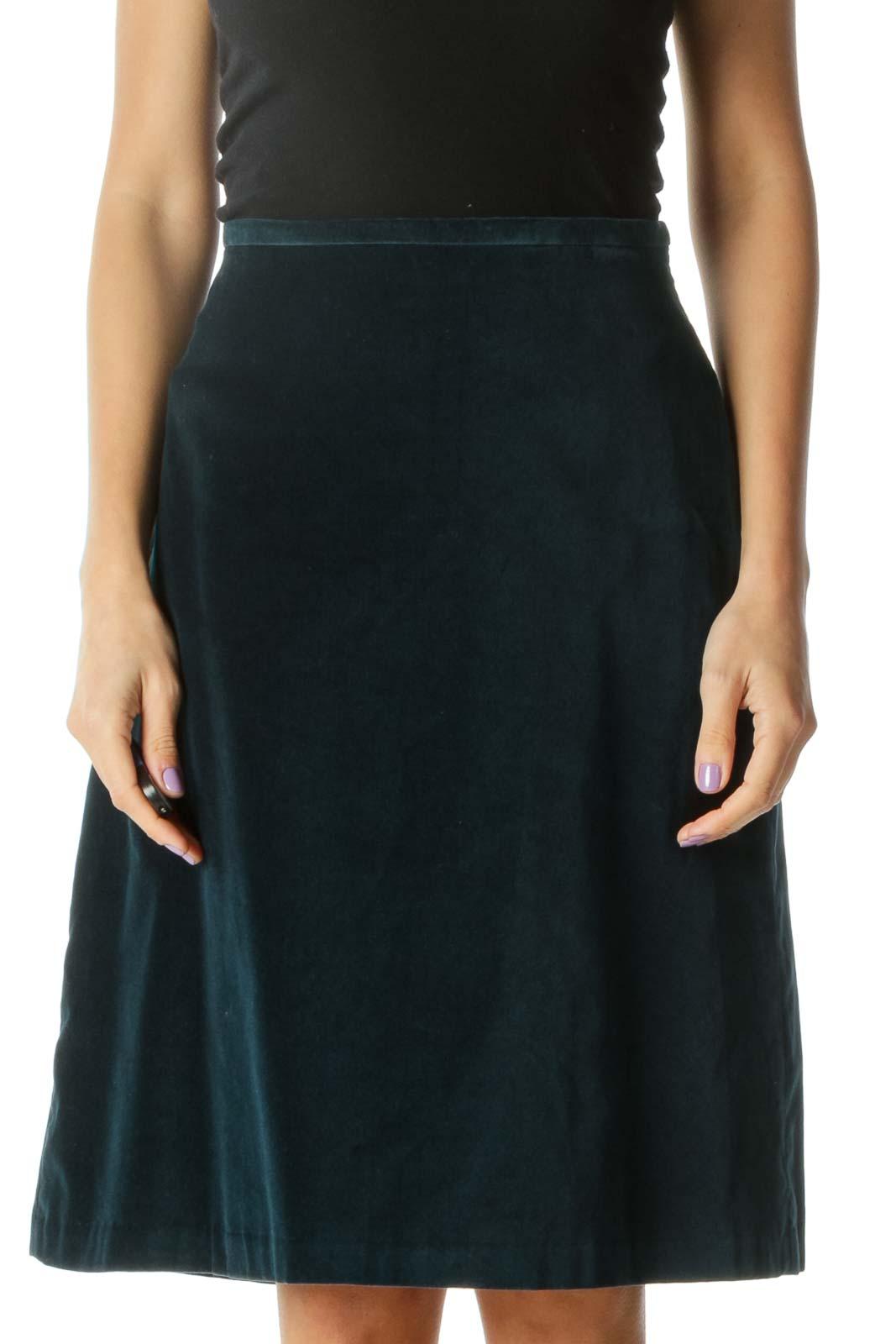 Blue Velvet Pencil Skirt Front