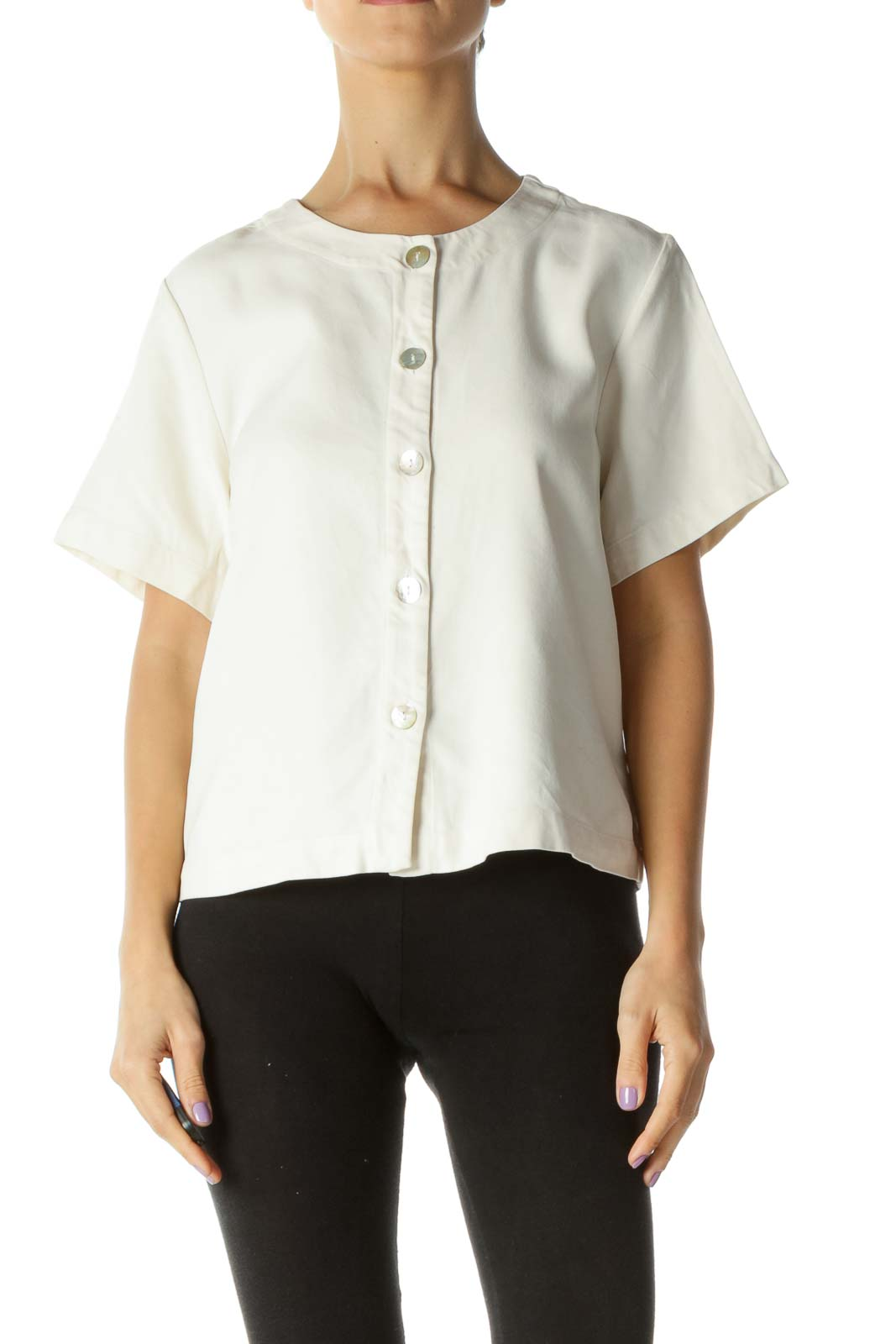 Cream 100% Silk Buttoned Top Front