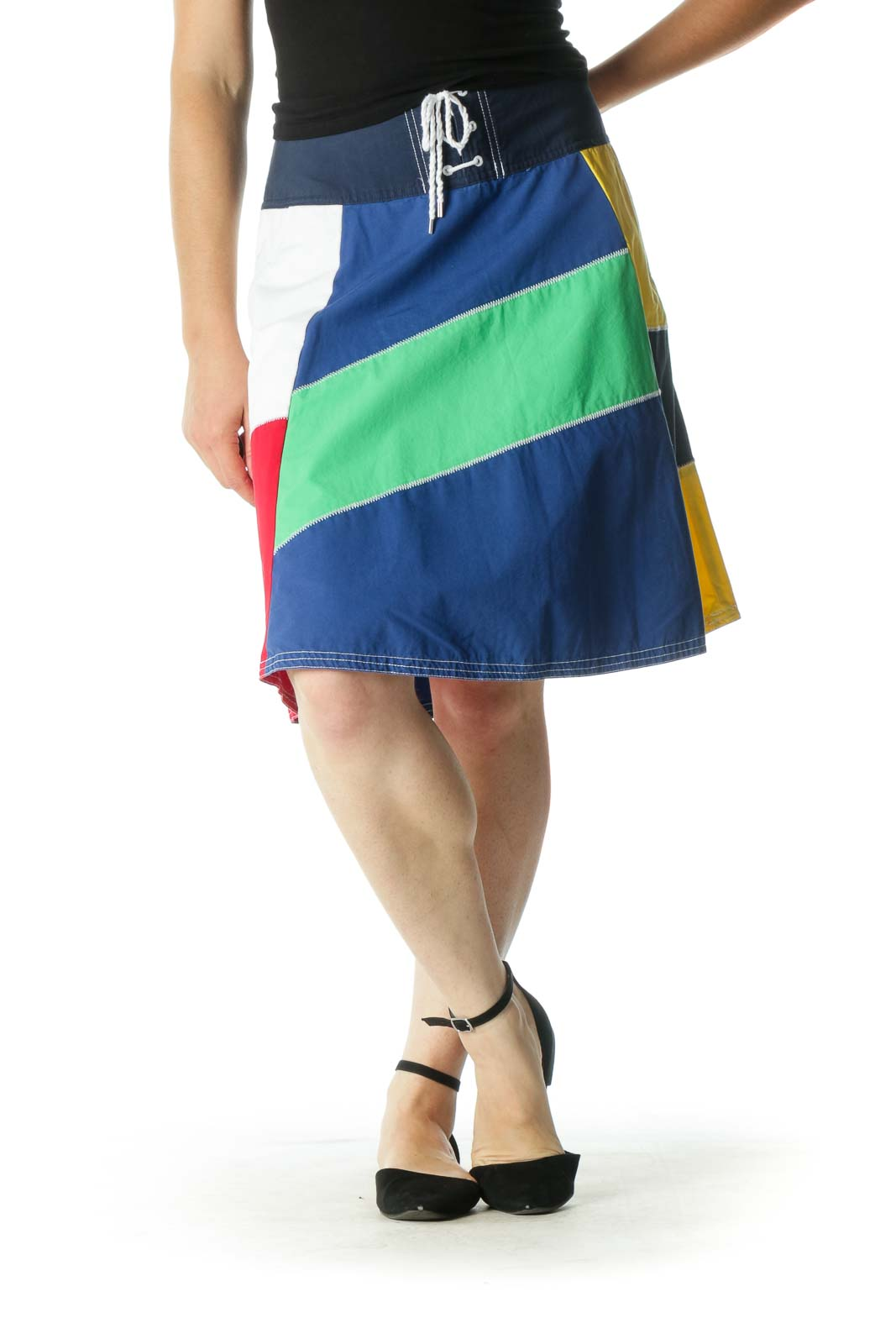 Multicolor A-Line Skirt Front