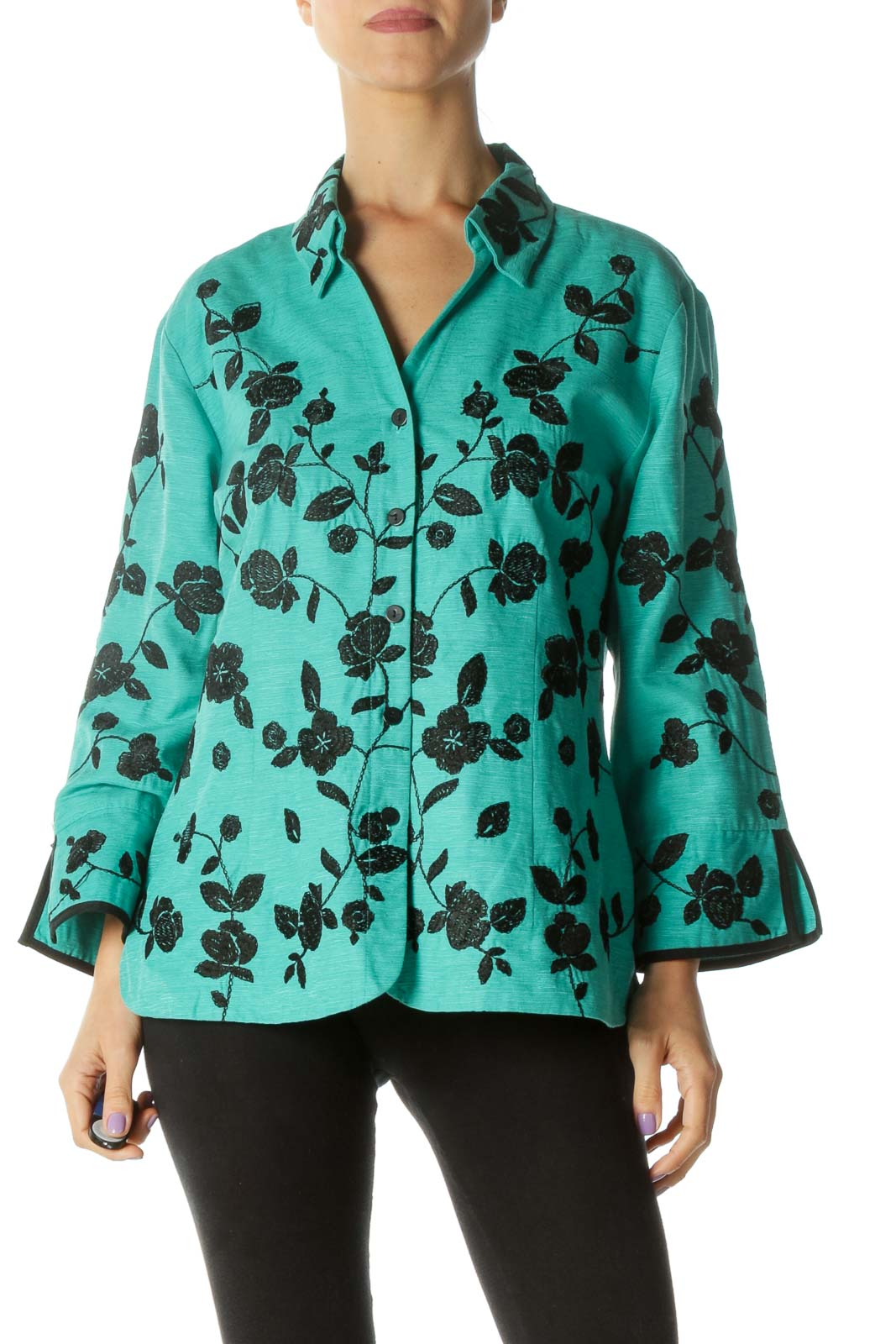 Green and Black Floral Print Button Down Shirt Front