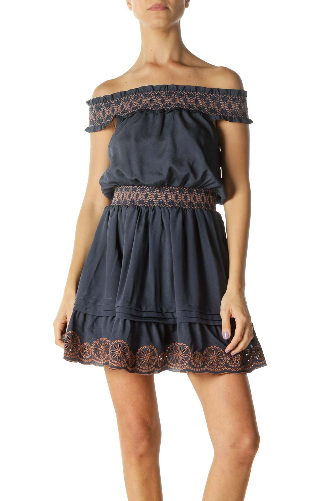 Navy Off-Shoulder Day Dress with Brown Accents Front