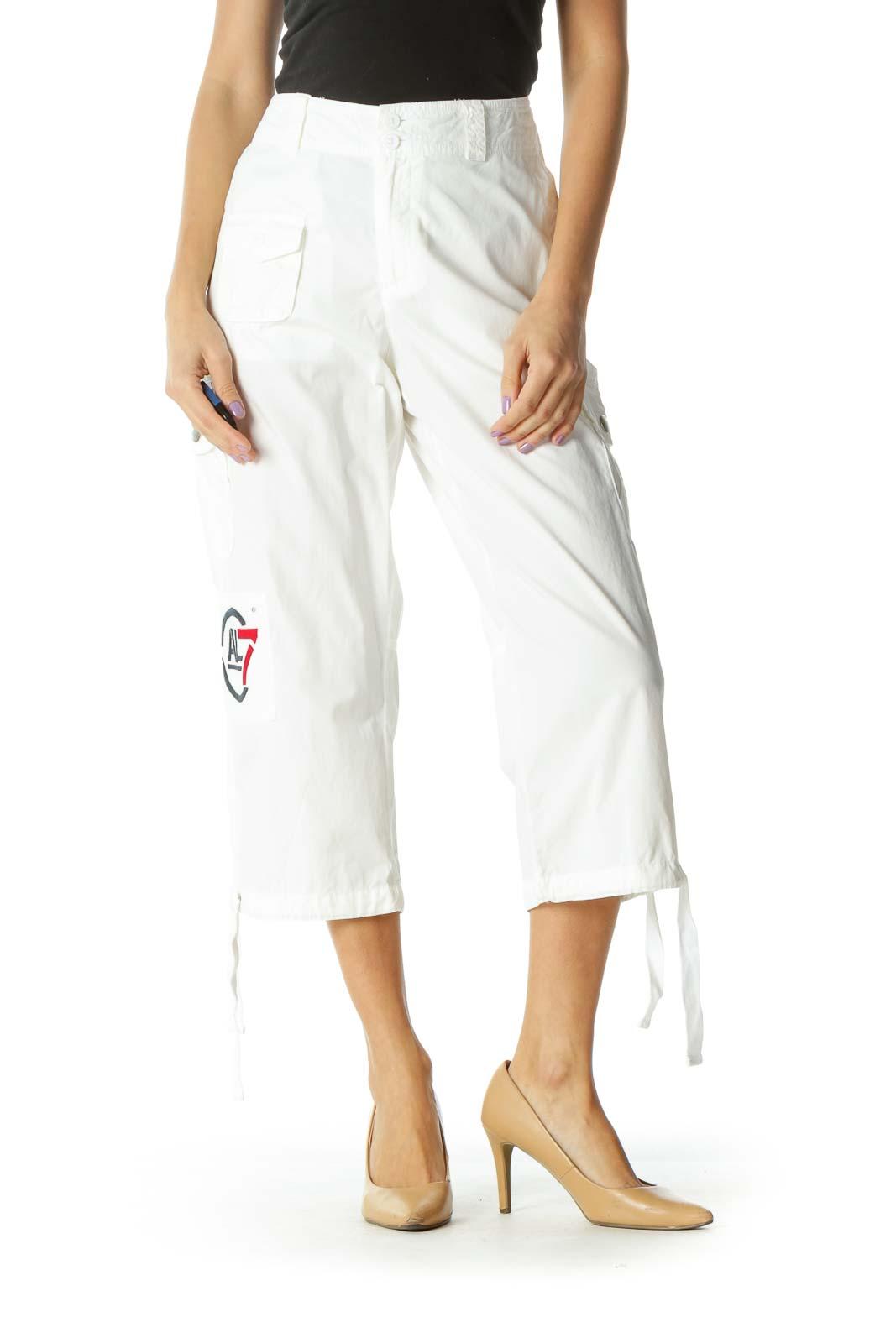 White Capri Cargo Pants Front