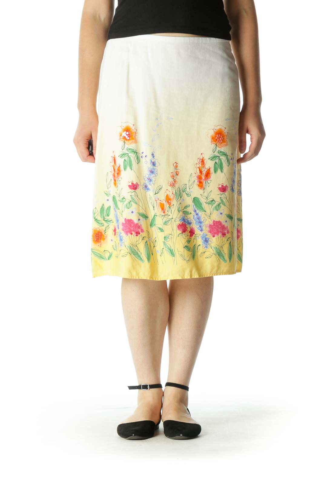 Yellow Ombre Floral Skirt Front
