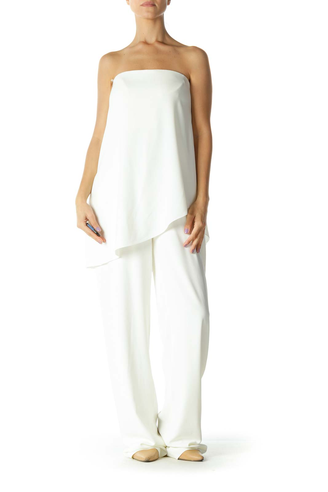 Cream Strapless Layered Jumpsuit Front