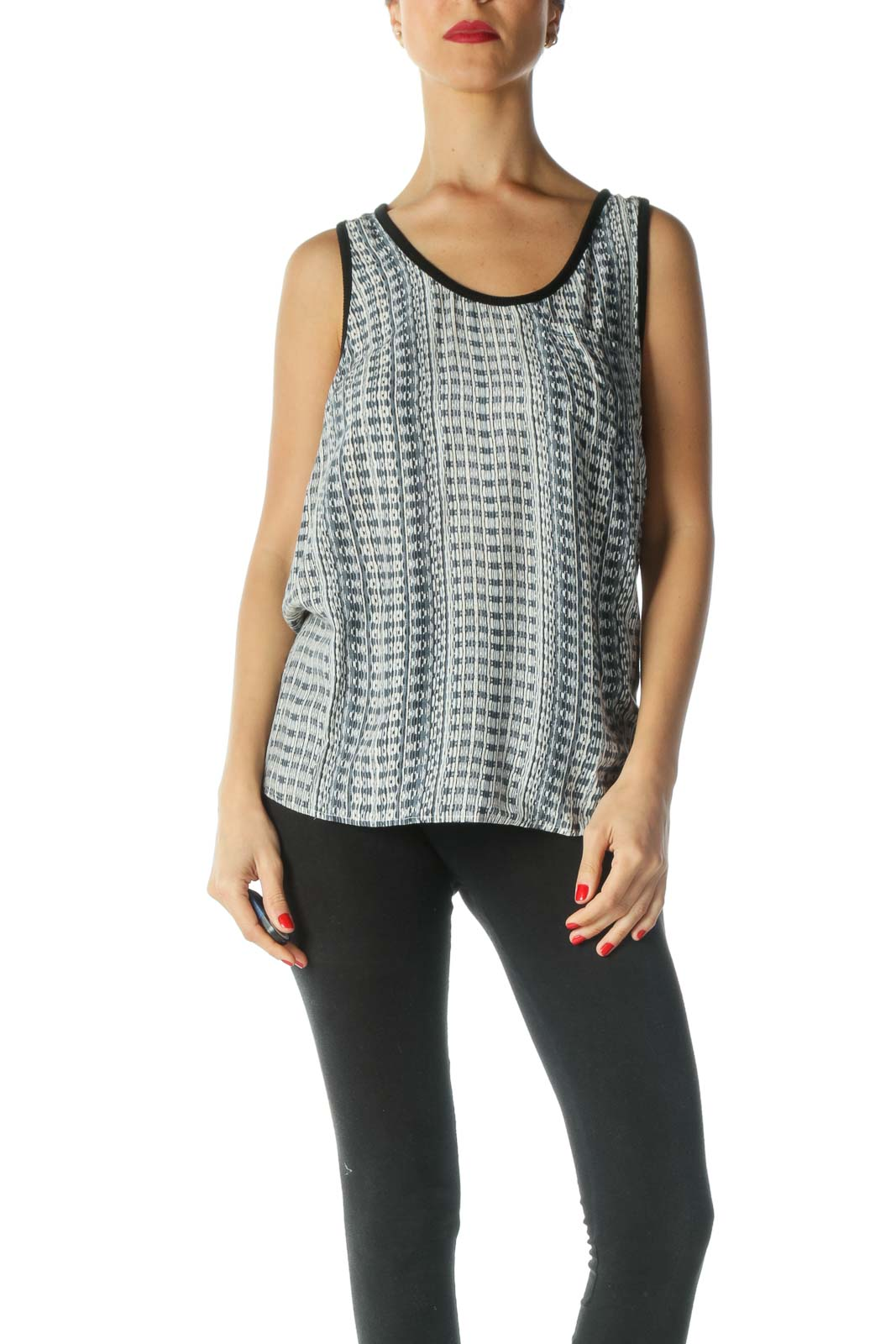 Black Blue White Print Pocket Tank Top Front