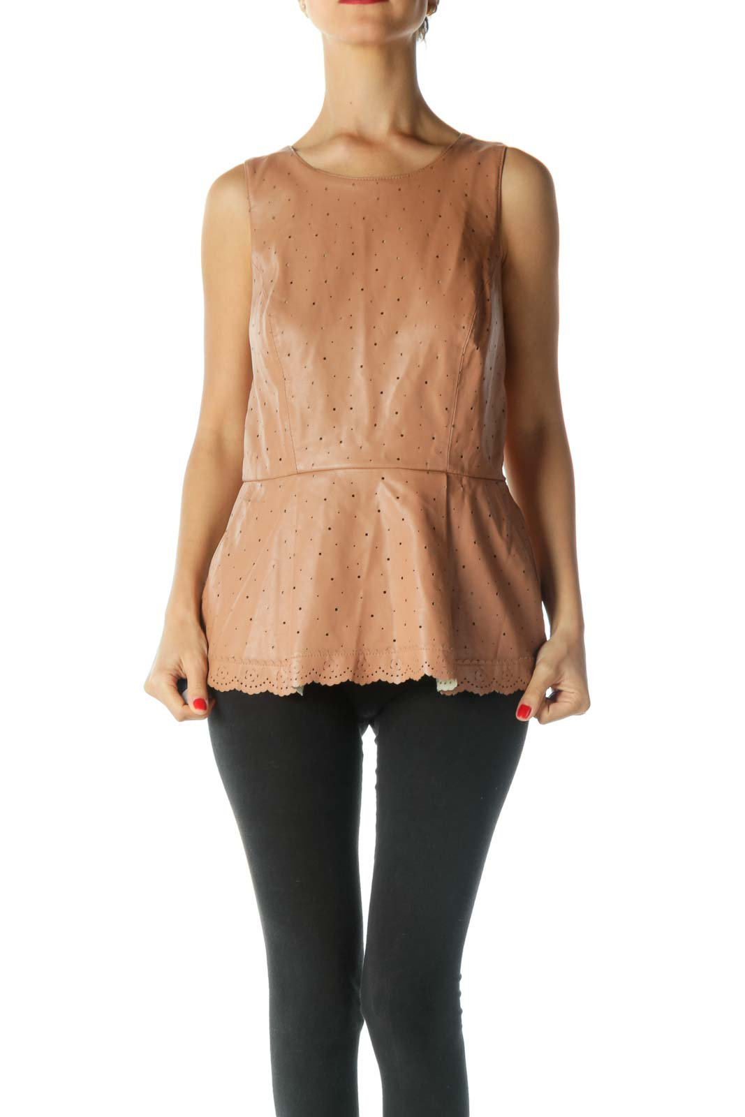 Brown Faux Leather Peplum Top Front