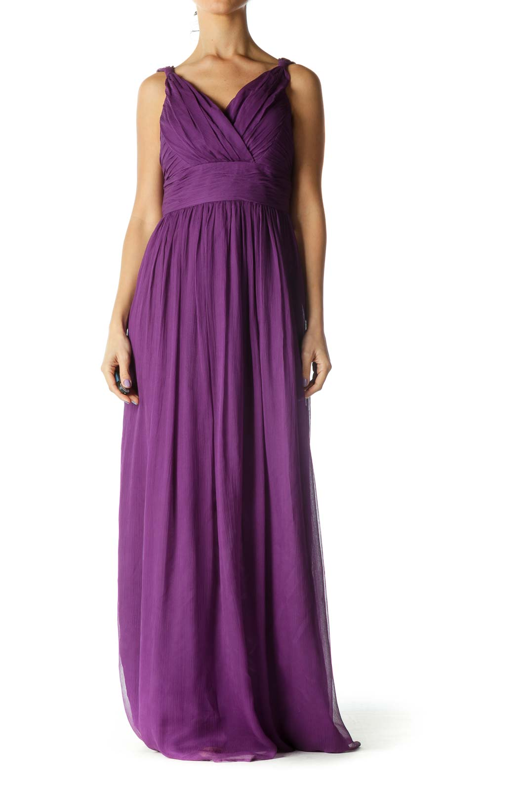 Purple Maxi Evening Gown Front