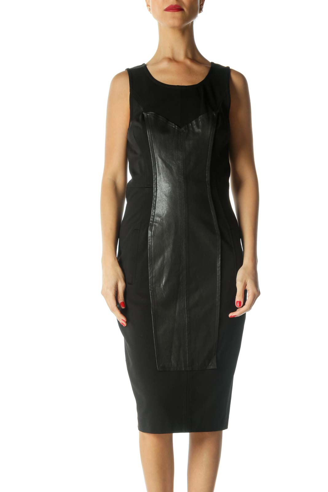 Black Leather Panel Dress Front