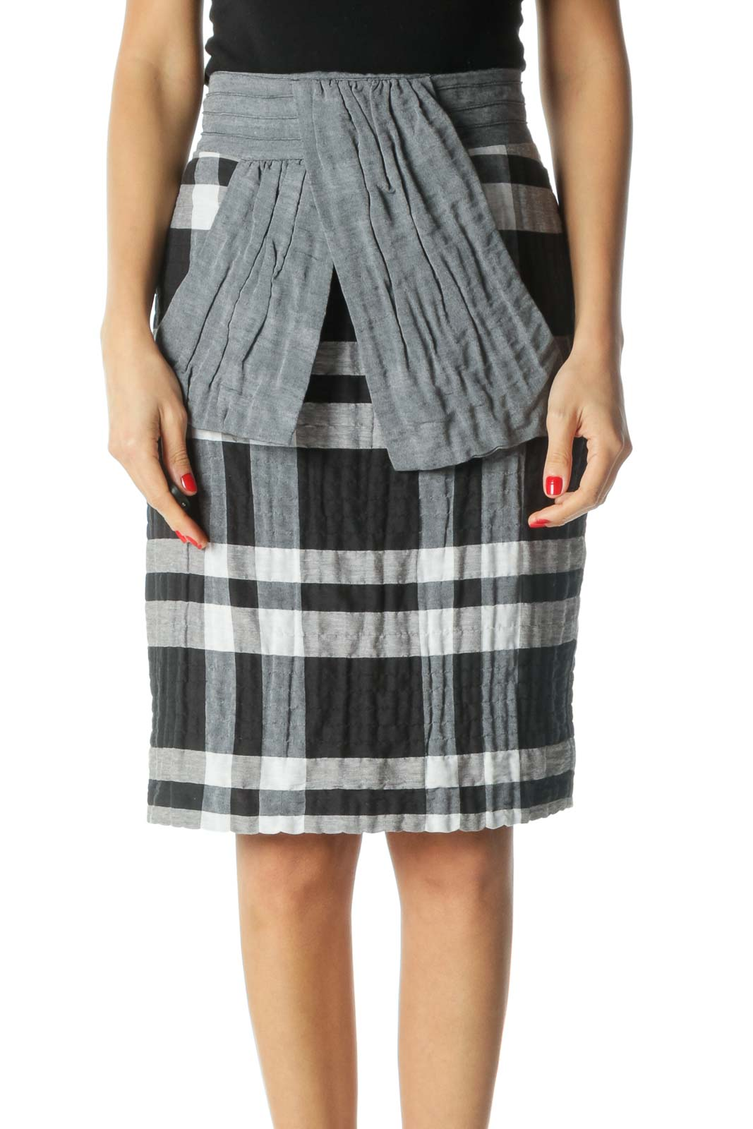 Black and Gray Plaid Bow Pencil Skirt Front