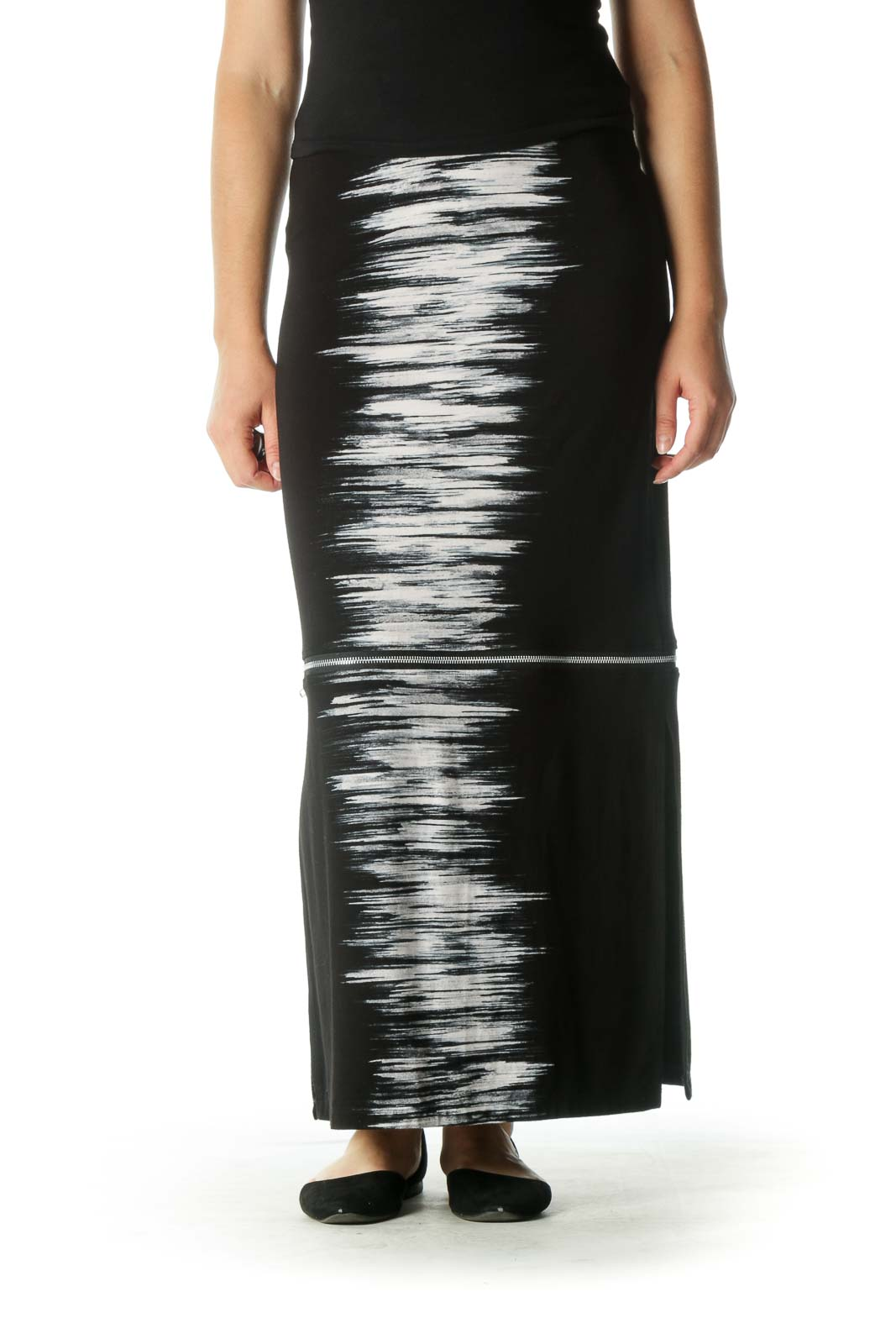 Black and White Zippered Maxi Skirt Front