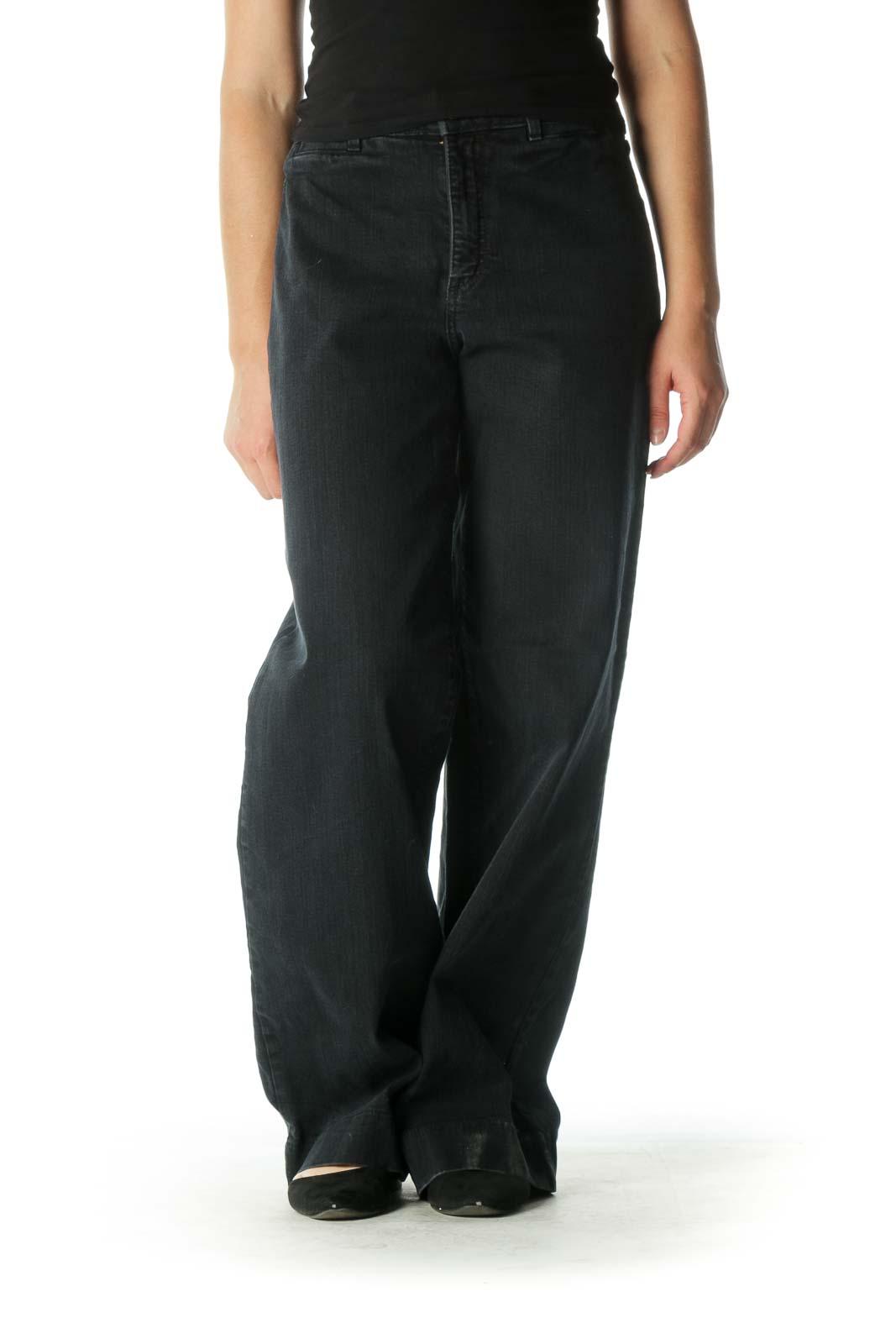 Black Wide-Leg Jeans Front
