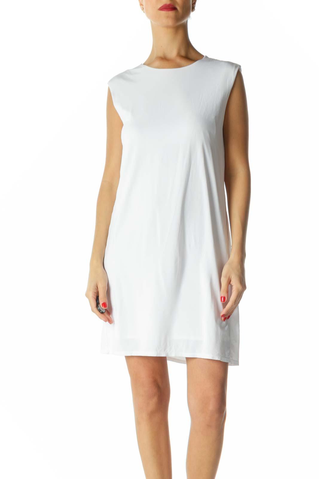 White Sleeveless Shift Dress Front
