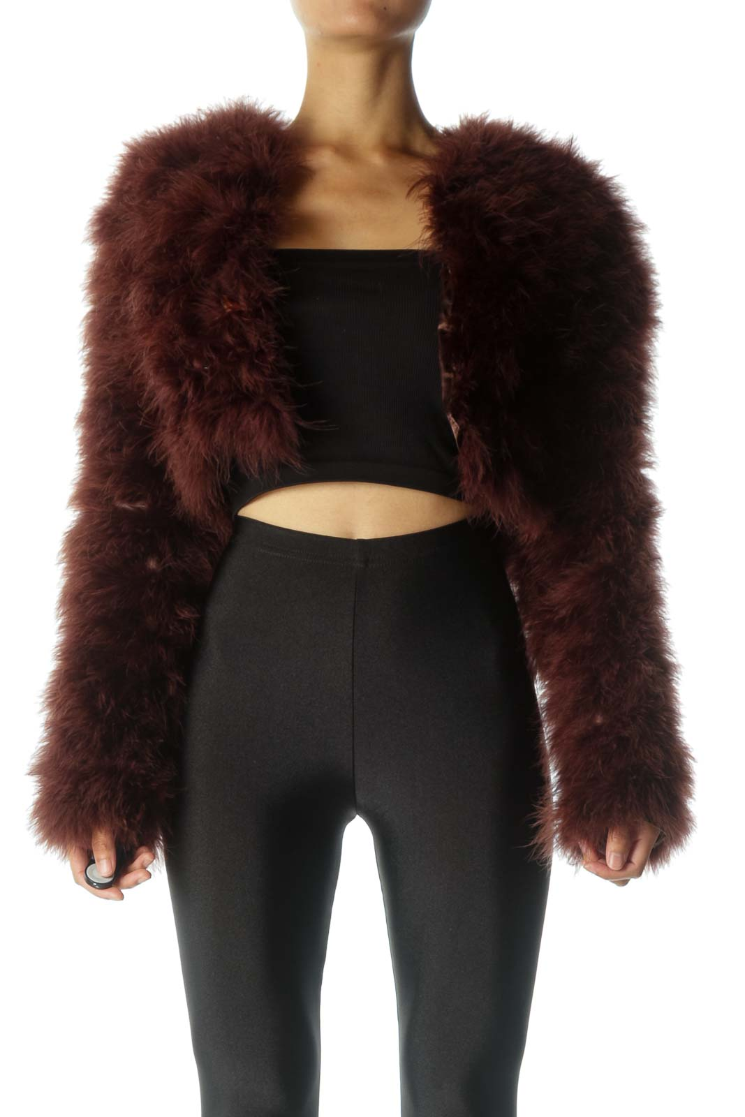 Burgundy Feather Cropped Jacket Front