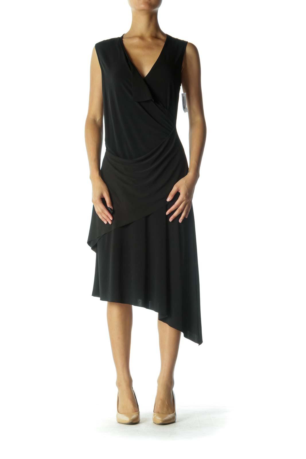 Black Sleeveless Midi Dress Front