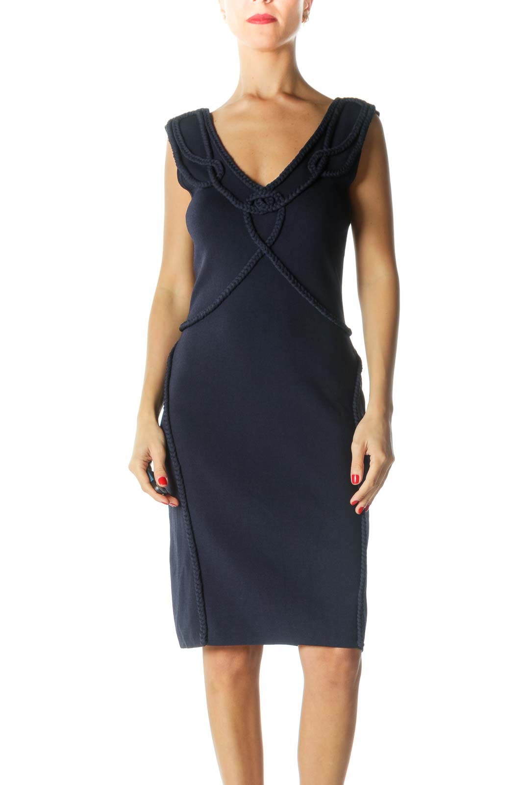 Navy Braided Knee-Length Dress Front