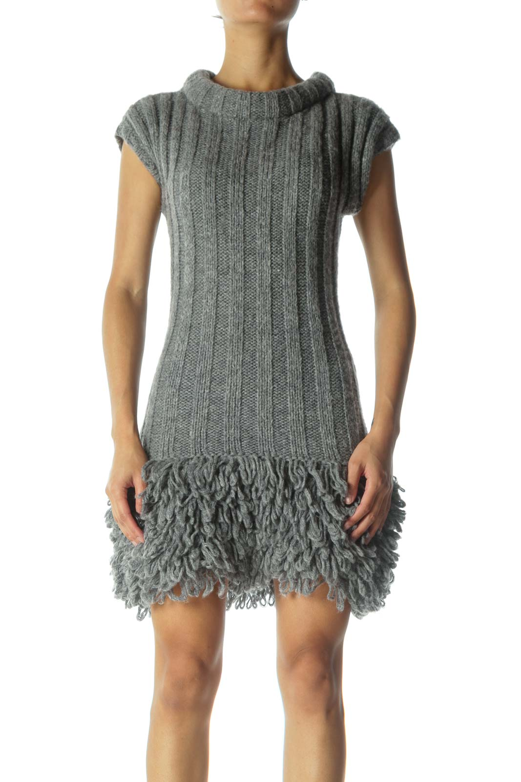 Gray Knit Dress Front