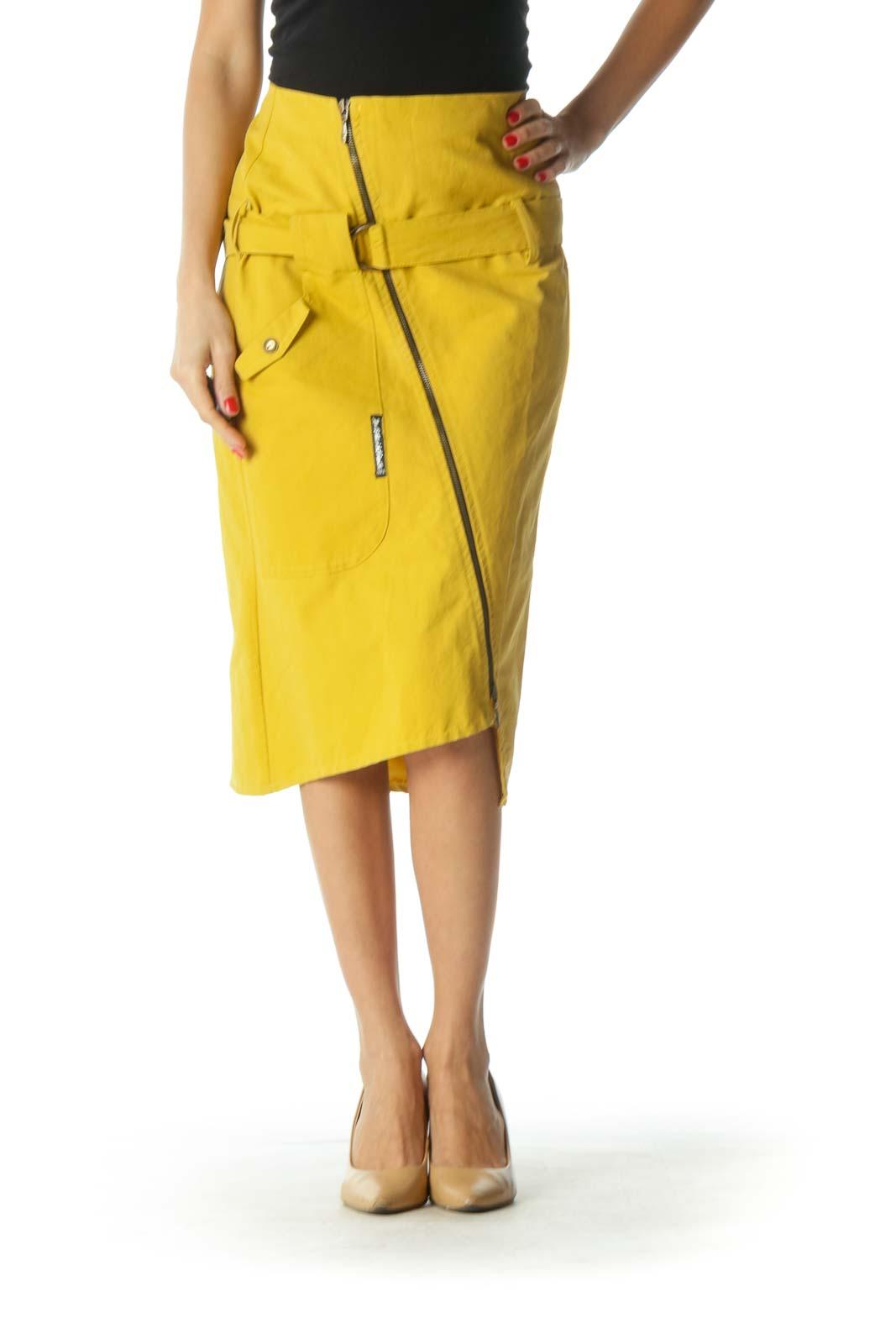 Yellow Asymmetric A-Line Skirt Front