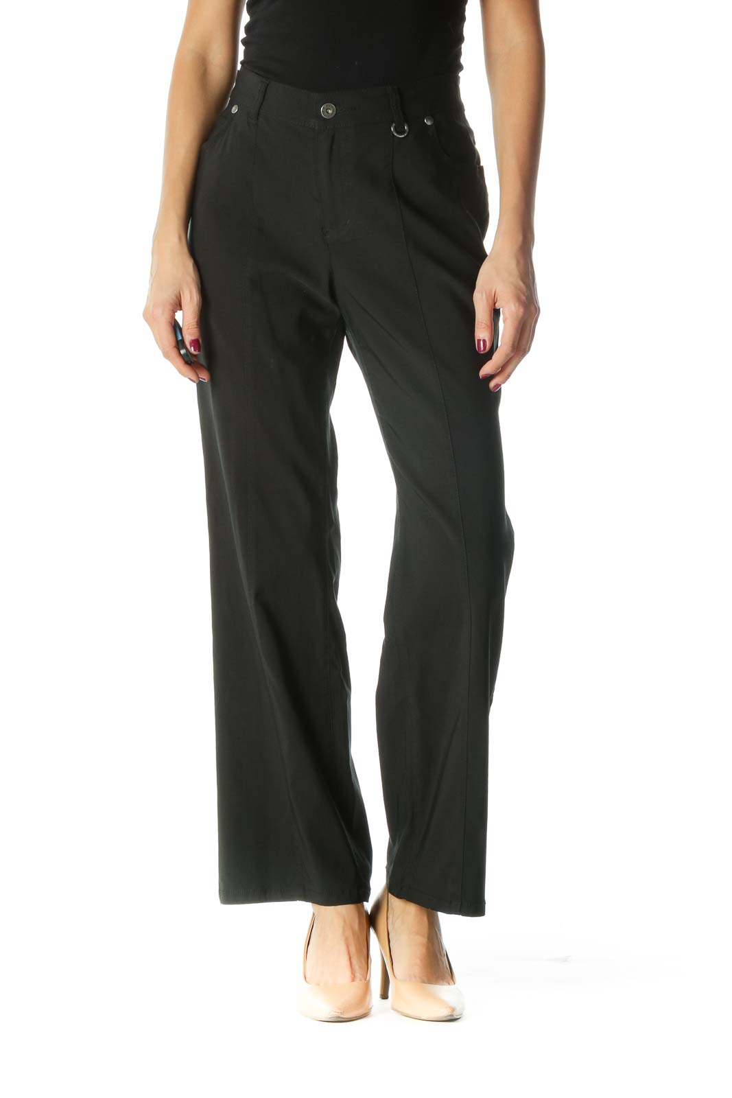 Black Tapered Pants Front