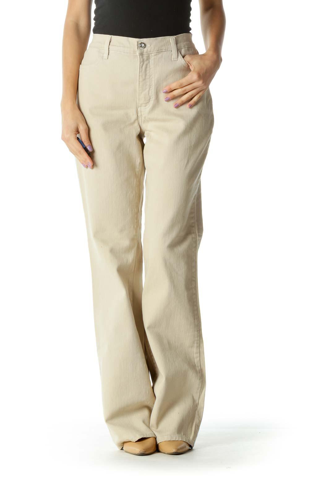 Beige Wide-Leg Pants Front