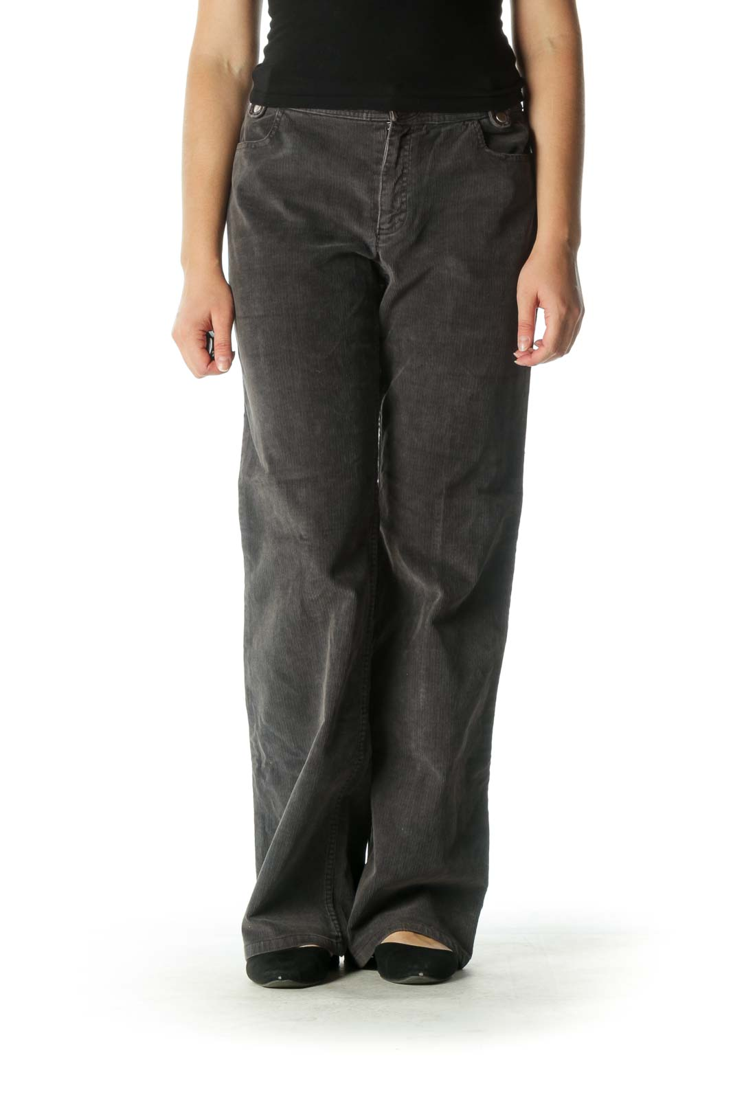 Gray Corduroy Wide-Leg Pants Front