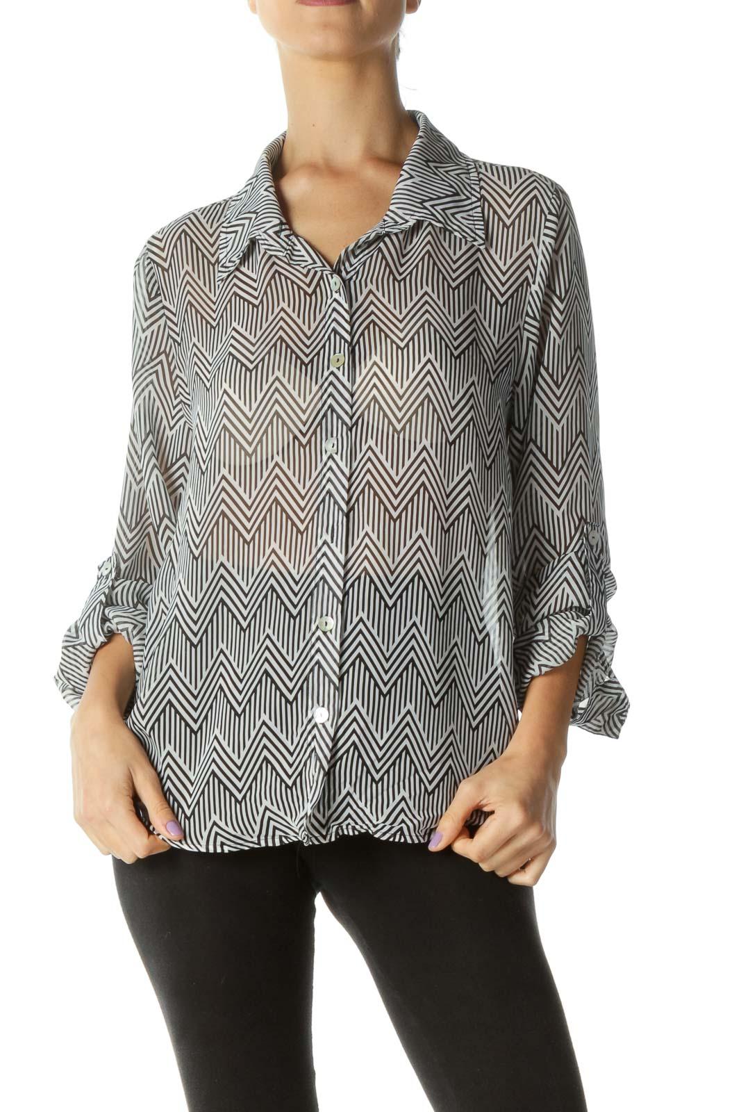 Black White Geometric Print Sheer Shirt Front