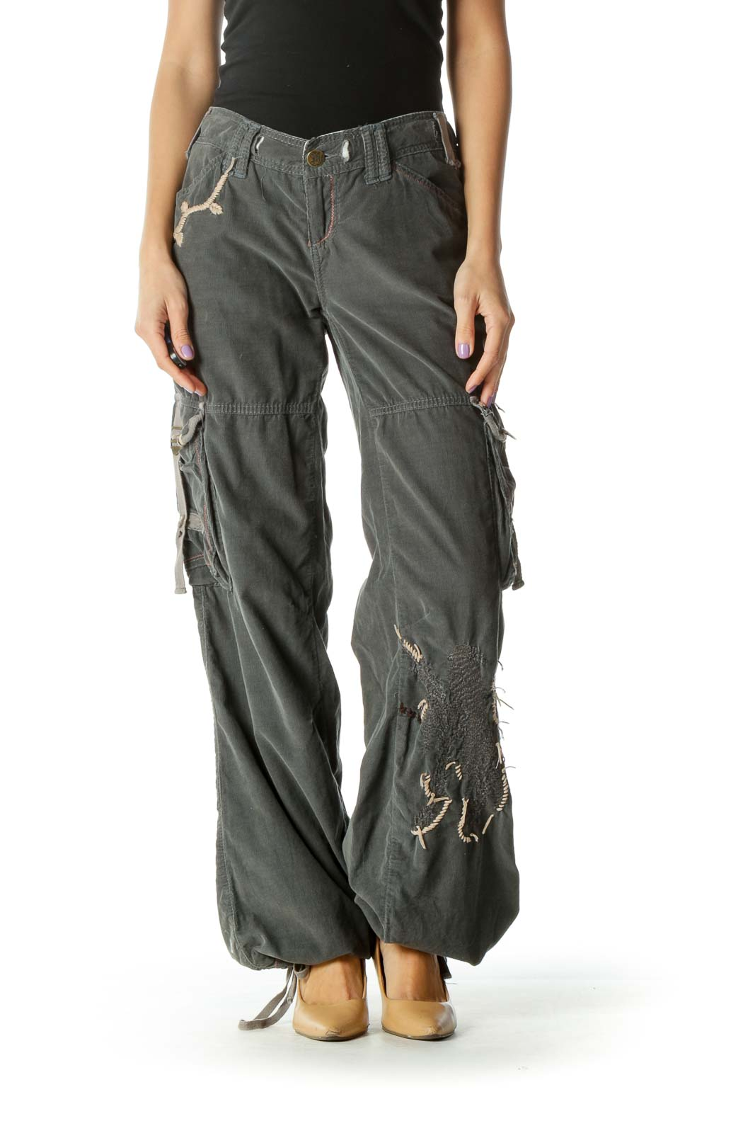 Gray Embroidered Cargo Pants Front