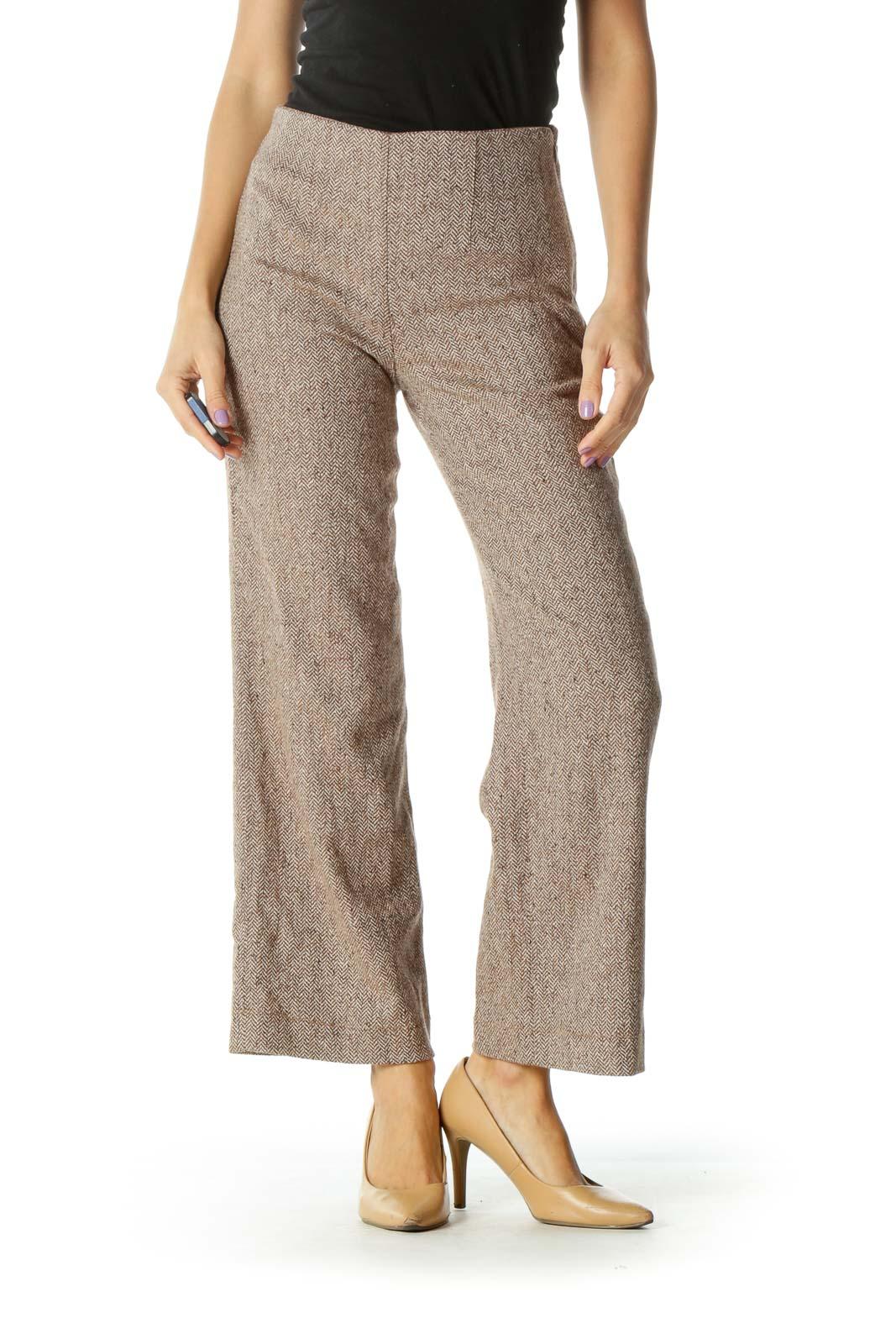 Brown Chevron Knit Straight Leg Pants Front