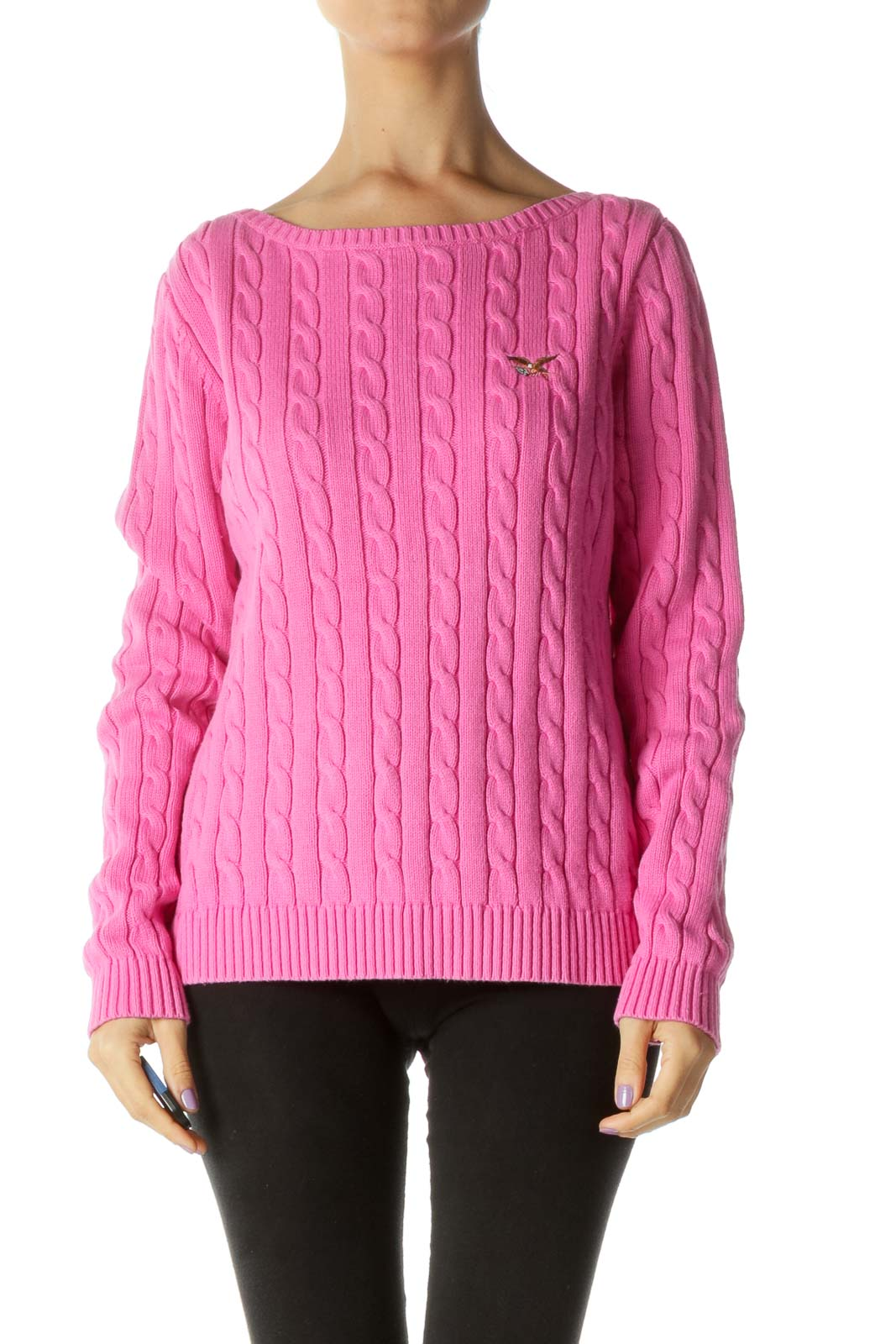 Pink Cable Knit Sweater Front
