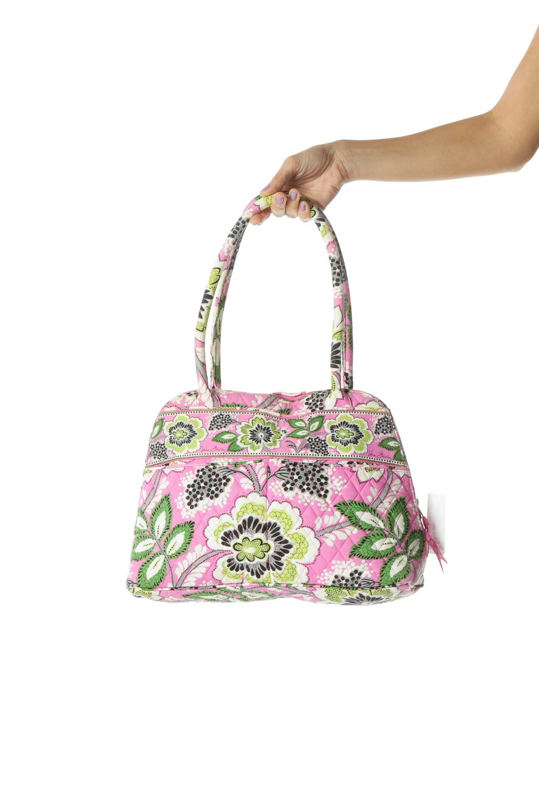 Green and Pink Floral Print Quilted Bag Front