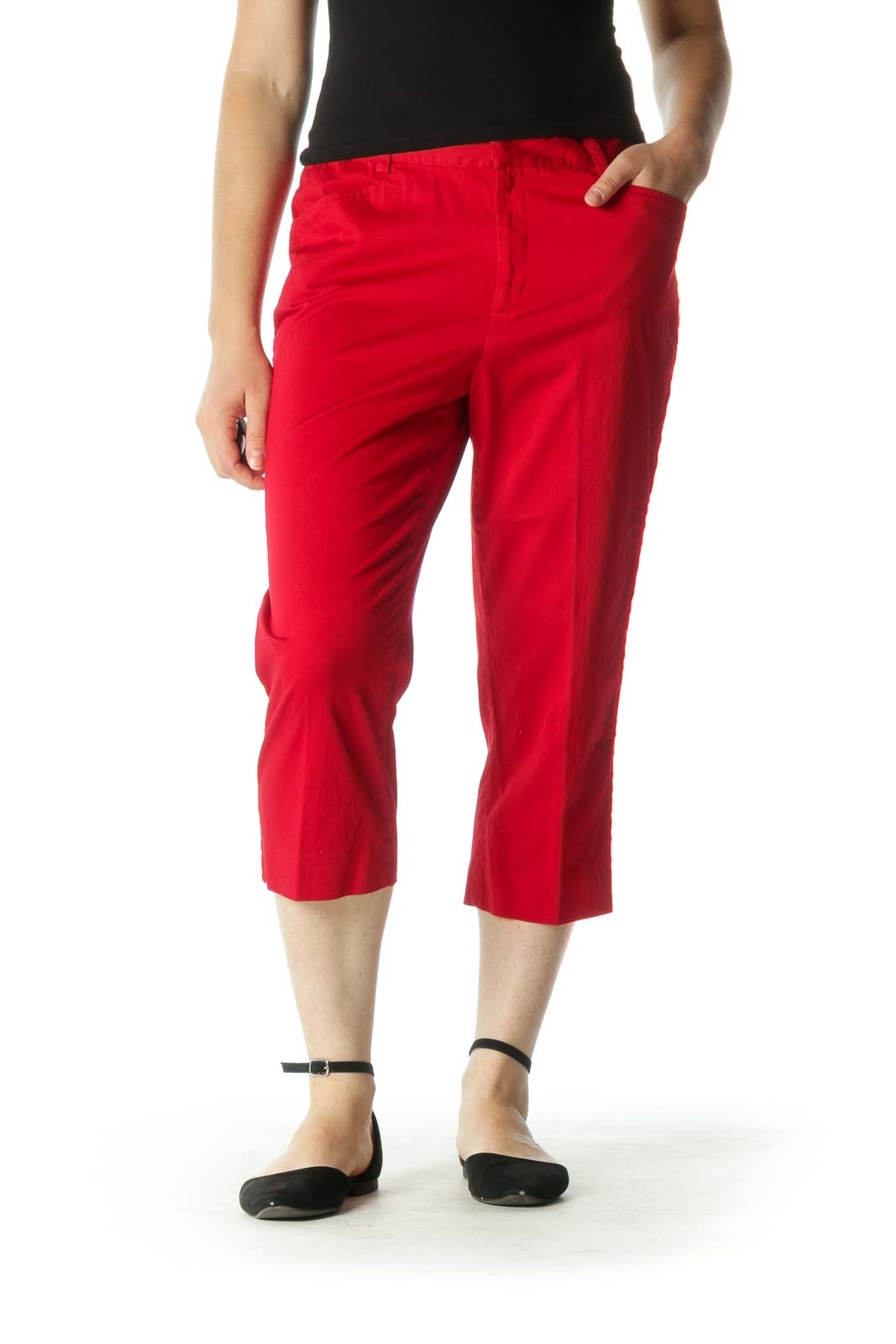 Red Cropped Pants Front