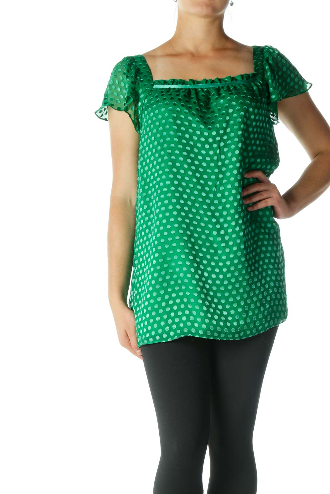 Green Silk Square Neckline Textured Top Front