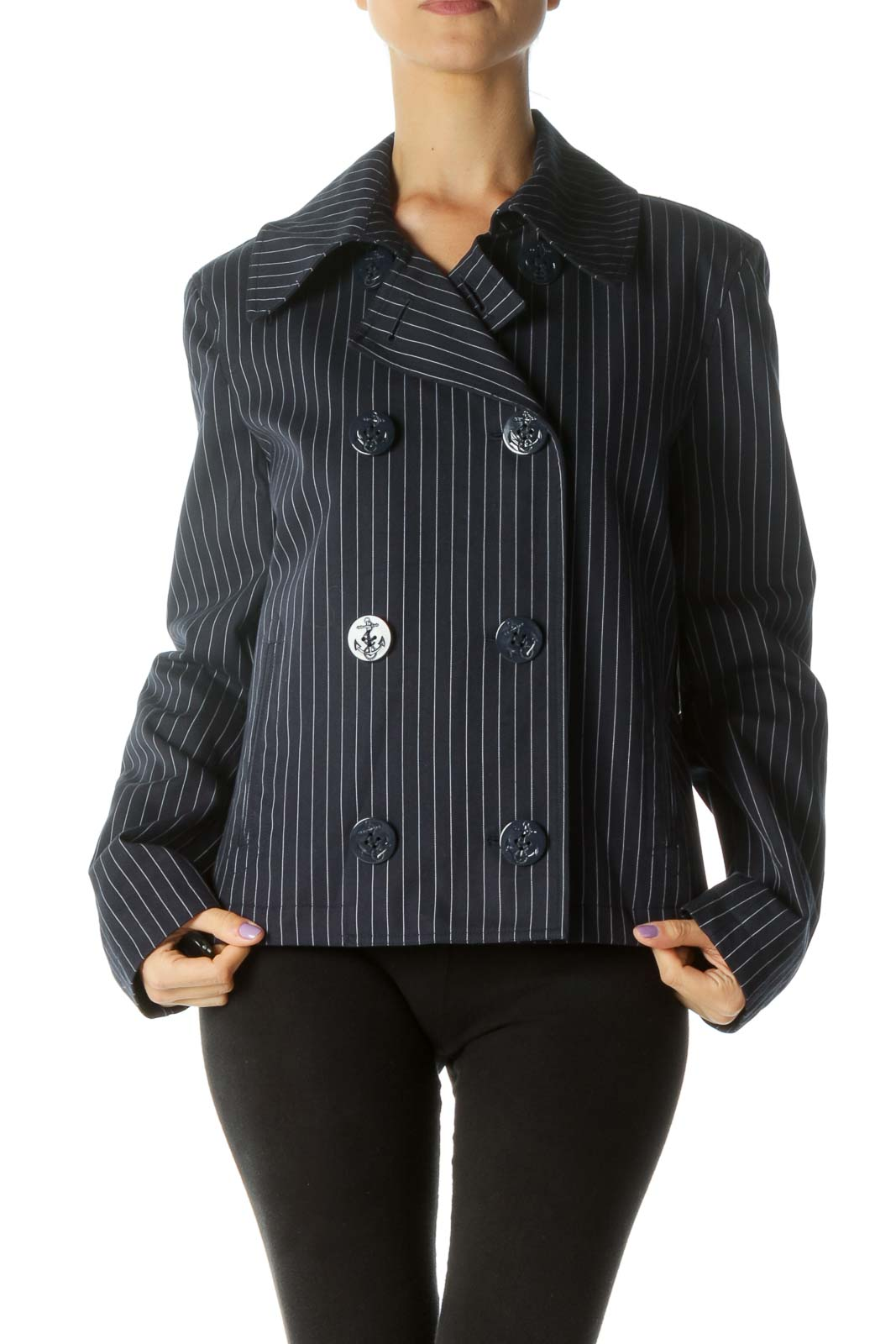 Navy and White Striped Double-Breasted Coat Front