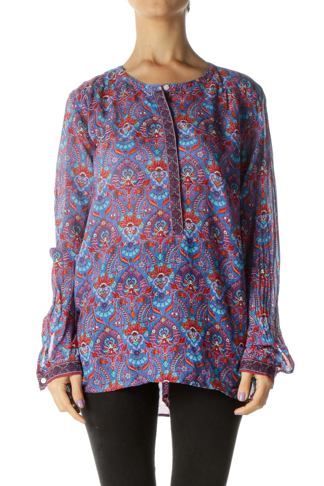 Blue Purple Red Print Long Sleeve Tunic Top Front